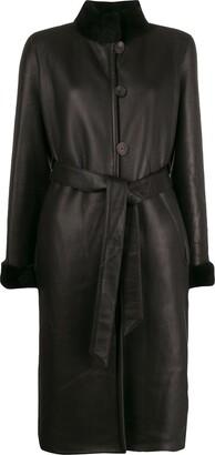 Liska Shearling-Trimmed Belted Coat