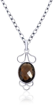 Smoky Quartz Sterling Silver Oval Short Pendant by Orchid Jewelry