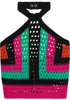 Balmain Cropped Open-knit Halterneck Top - Green