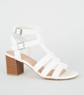 New Look Girls Faux Croc Gladiator Block Heel Sandals