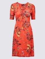 Marks and Spencer Jersey Floral Print Half Sleeve Tea Dress