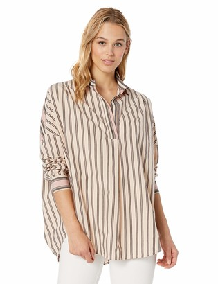 French Connection Women's Cotton Mix Stripe Pop Over Shirt