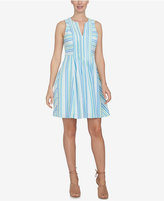 CeCe Striped Fit & Flare Dress