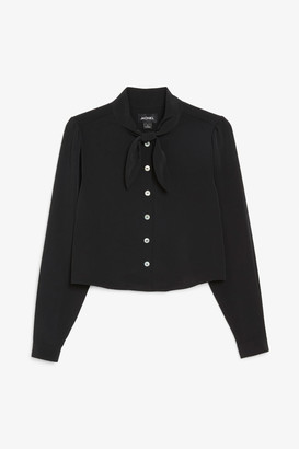 Monki Cropped pussy bow blouse