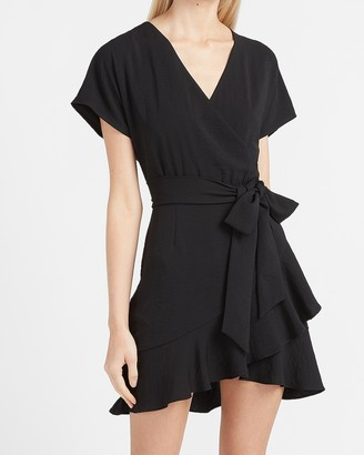 Express Ruffle Wrap Front Mini Dress