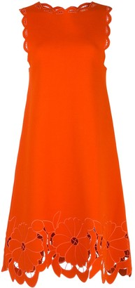 Oscar de la Renta Scrapbook Floral-Embroidered Knit Dress