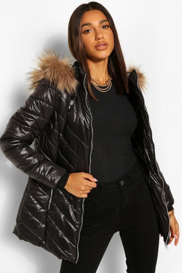 Thumbnail for your product : boohoo High Shine Faux Fur Trim Longline Puffer Coat