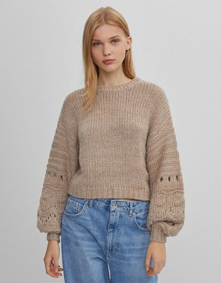 Bershka sleeve detail sweater in beige