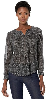 Vince Camuto Long Sleeve Sweet Calico Split-Neck Pintuck Blouse