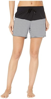 Roxy 5 Beach Classics Boardshorts (Anthracite Marina Stripes) Women's Swimwear