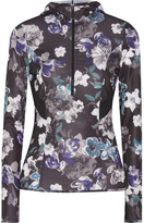 adidas by Stella McCartney Floral-print Hooded Climacool® Top - Black