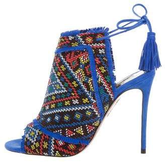 Aquazzura Abstract Print Woven Sandals