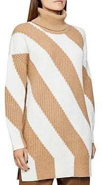 Reiss Alba Diagonal Stripe Ribbed Tunic Sweater