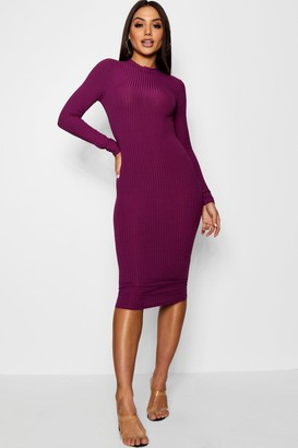 boohoo Ribbed High Neck Long Sleeved Midi Dress