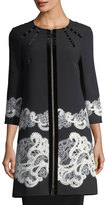 Andrew Gn 3/4-Sleeve Lace-Trim Crepe Jacket