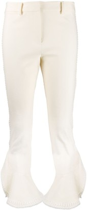 Derek Lam 10 Crosby Daria Ruffle Cropped Flare Crosby Cotton Twill Trouser