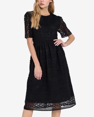 Express Endless Rose Lace Midi Dress