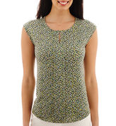 Liz Claiborne Sleeveless Extended-Shoulder Front-Pleat Top