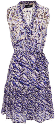Saloni Tilly-c Belted Printed Silk-crepe Mini Dress