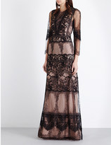Alberta Ferretti Floral-embroidered lace maxi dress