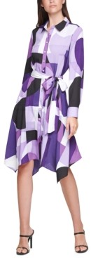 Calvin Klein Plus Size Printed Handkerchief-Hem Shirtdress