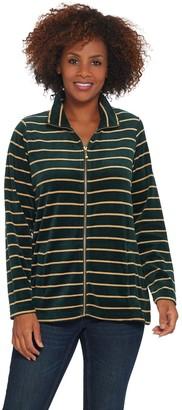 Quacker Factory Striped Lurex Knit Velvet Zip Front Jacket