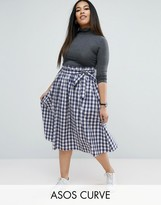 Asos Midi Skirt with Paperbag Waist in Gingham