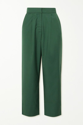 ANNA QUAN Tate Cropped Twill Straight-leg Pants - Green