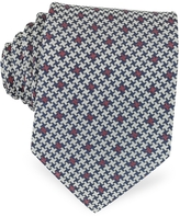 Forzieri Blue, Beige and Burgundy Woven Silk Tie