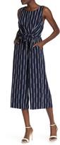 June & Hudson Stripe Print Tie Front Crop Jumpsuit