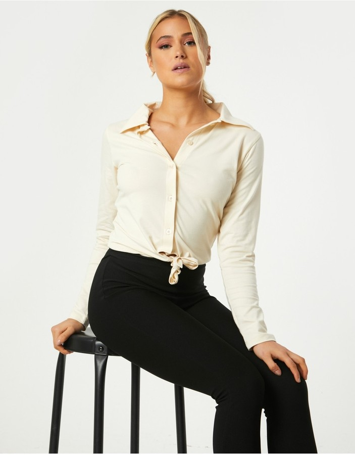 Thumbnail for your product : Little Mistress Amaury Sand Tie-Front Shirt