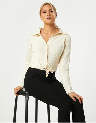 Little Mistress Amaury Sand Tie-Front Shirt