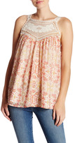 Joie Bayard Crocheted Lace Trim Silk Tank