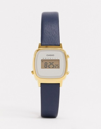 Casio digital leather watch in navy