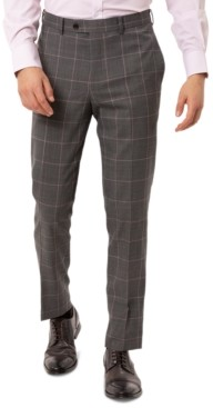 Tallia Men's Slim-Fit Stretch Gray Windowpane Suit Separate Pants