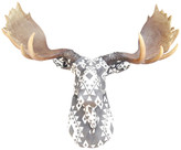 Near And Deer Faux SouthWestern Fabric Moose Wall Decor, Gray/White
