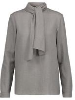 Vanessa Seward Carmel Tie-Front Wool-Gauze Turtleneck Blouse