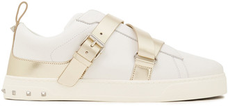 Valentino V-punk Metallic-trimmed Buckled Leather Sneakers