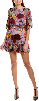Alice + Olivia Katrina Silk-Blend Mini A-Line Dress