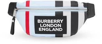 BURBERRY KIDS Logo Striped Belt Bag