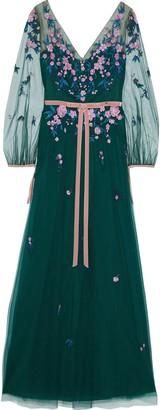 Marchesa Velvet-trimmed Embellished Tulle Gown