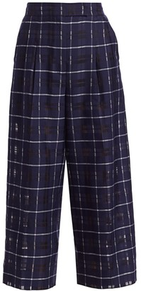 Akris Fira Cotton & Silk Plaid Cropped Pants
