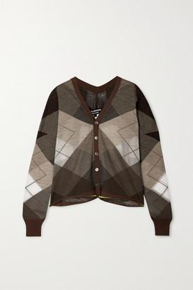 Junya Watanabe Argyle Wool-blend Cardigan - Beige