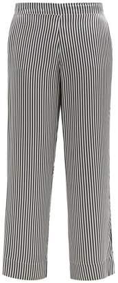 Asceno - Striped Sandwashed Silk-satin Pyjama Trousers - Womens - Black Stripe
