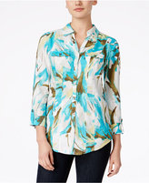 JM Collection Linen Printed Shirt, Only at Macy's
