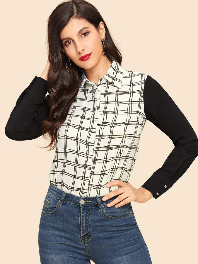 6bc4f1ab7b Women Black And White Plaid Shirts - ShopStyle