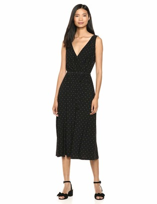 Chaps Women's Sleevless V-Neck Polka dot midi Length Dress