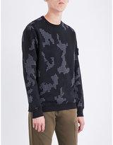 Stone Island Grid Camouflage Cotton-jersey Sweatshirt