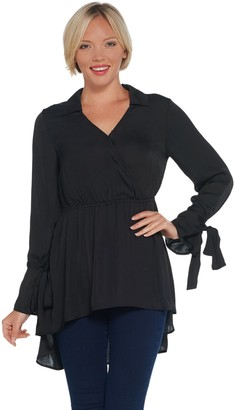 Laurie Felt Ribbon Long Sleeve Woven Blouse