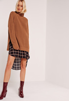 Missguided Brown Turtle Neck Side Split Sweater